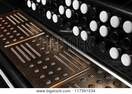 Close-up accordion against a black background