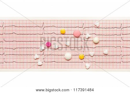 Heart Shape, White, Yellow, Pink Tablets On Paper Ecg Results