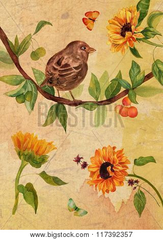Vintage collage postcard or poster design with watercolor bird, butterflies and sunflowers