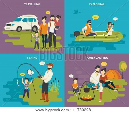 Family with kids concept flat icons set of travelling, fishing and camping