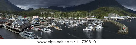 A panoramic view of the harbor in Juneau Alaska in June, 2014 after an afternoon shower.