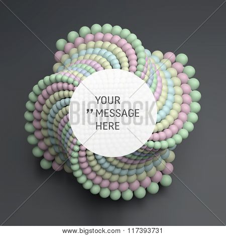Round Frame with Place for Text. 3D abstract spheres composition. Technology Style. 3D Vector illustration for Science, Technology, Marketing, Presentation. Connection Structure. Network Design.
