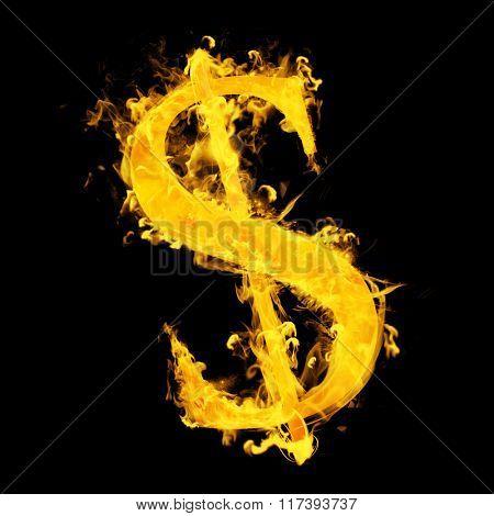 American dollar on fire against black