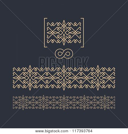 Vector Border. Seamless Pattern. Decorative Element for Design. Geometric border template on dark background. Figured Border. Vector Linear Border for Invitation, Card, Certificate.