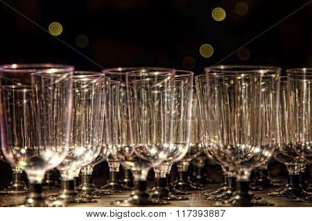 Transparent Wine Glasses On Reception Table.
