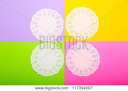 Lace Napkins On Colorful Background