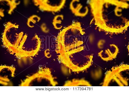 Euro sign on fire against dark background