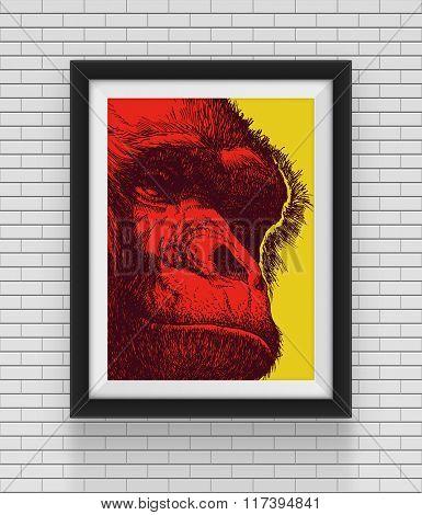 Frame with gorilla. Hand drawn. Jpeg version