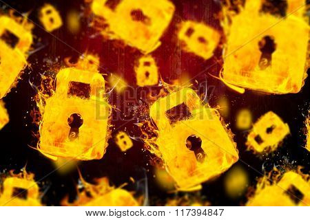 Padlock on fire against dark background