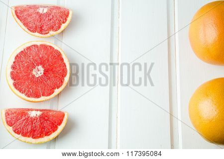 fresh grapefruit on white boards food wooden background orange citrus frui