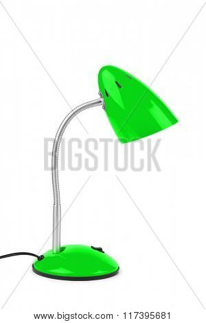Green desk lamp isolated on white background