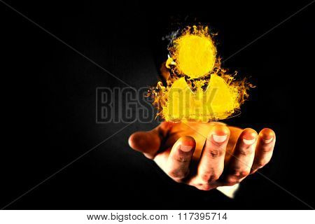 Close up view of businessman hand against black