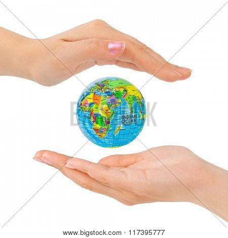 Hands and Earth isolated on white background