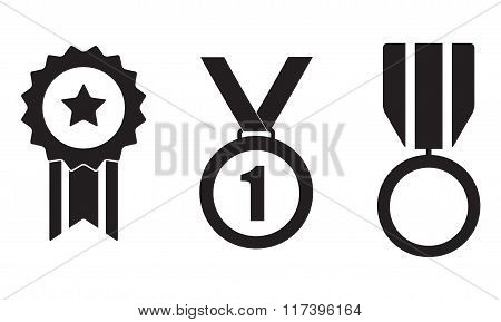 Medals, awards and trophy icon set isolated on white background. Vector illustration.