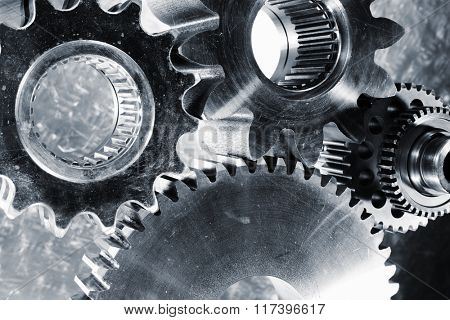 aerospace titanium cogwheels and gear parts, blue toning idea