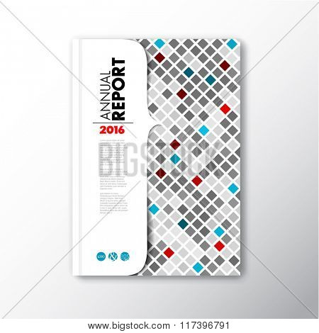 Modern Vector abstract brochure / book / flyer design template with red and blue mosaic
