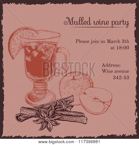 Invitation template for mulled wine party
