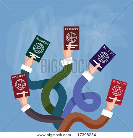 Hands Holding Passport International Travel Document
