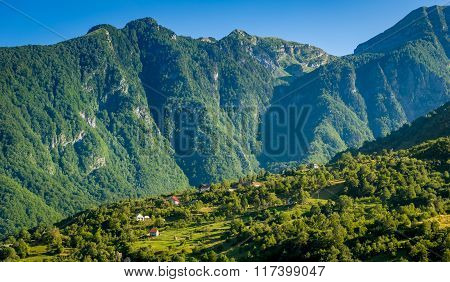 Village on the slope of a mountain