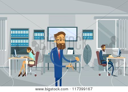 Business Man Holding Cable Office Connection Concept