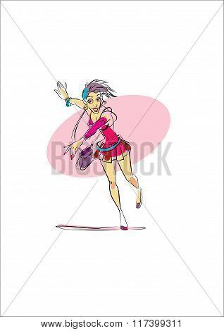 woman running late dancing