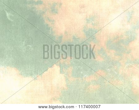Vintage sky background green with clouds in pastel watercolors