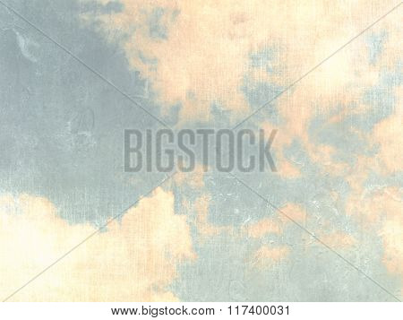 Retro sky background blue with clouds in soft watercolors