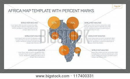 Africa map template with percent marks