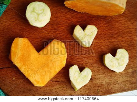 Cut Pumpkin And Courgette In Heart Form