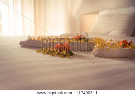 Luxury romantic hotel suite room  for just married couple