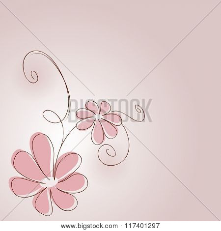 Abstract pink flower drawing vector card.