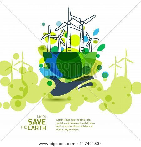 Printearth With Wind Turbines On Hand. Vector Illustration Of Windmill. Alternative Energy Generator