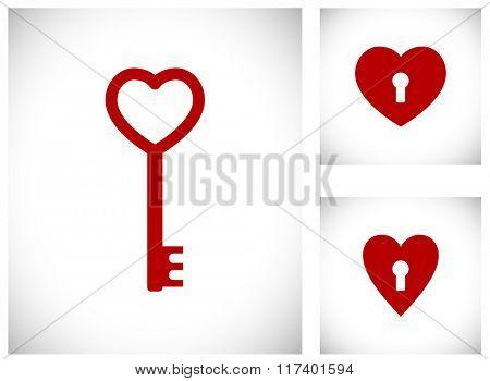 key in heart shape icon