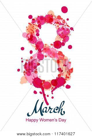 8 March Vertical Greeting Card, Flyer Or Banner, International Women's Day.