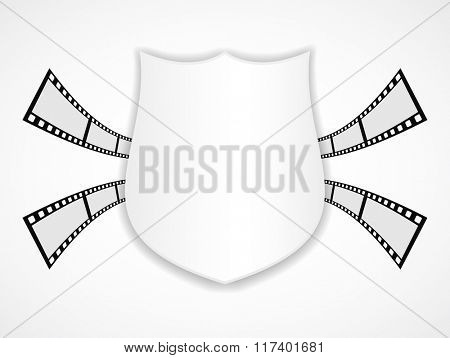 shield banner icon with film strip
