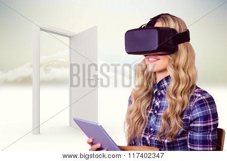 Pretty casual worker using oculus rift against open door in sky