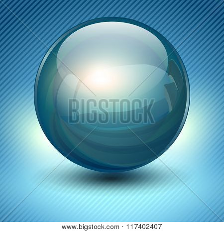 Background with blue glass ball, vector sphere.