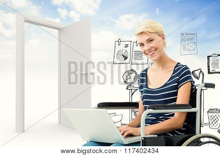 Woman in wheelchair using computer against doodle office in clouds with door