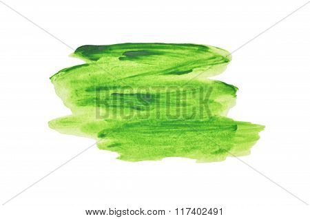 Abstract splash of green watercolor on white background