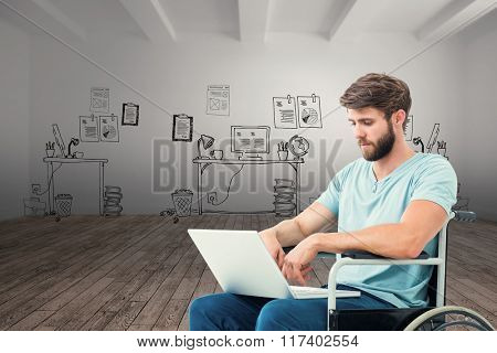 Man in wheelchair using computer against doodle office in room