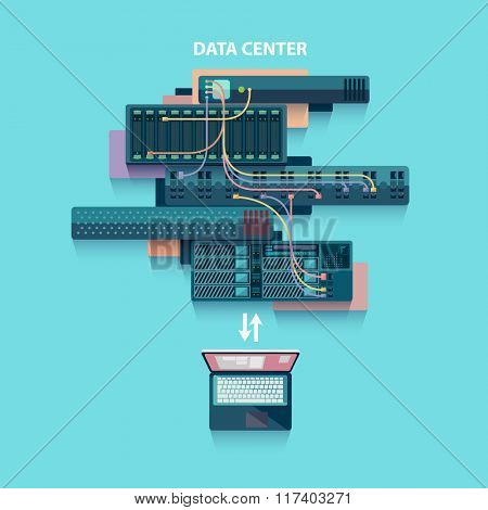 Data center. Flat design.