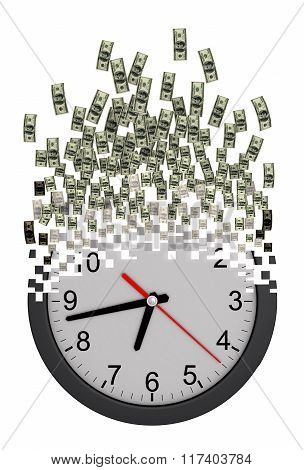 Time Is Money Concept. Clock Falling Apart To Dollars.