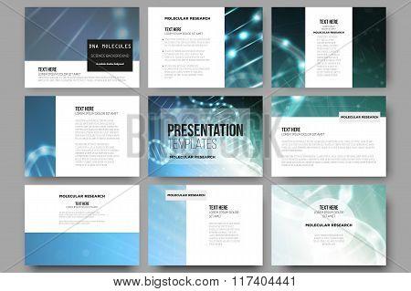 Set of 9 vector templates for presentation slides. DNA molecule structure on a blue background.