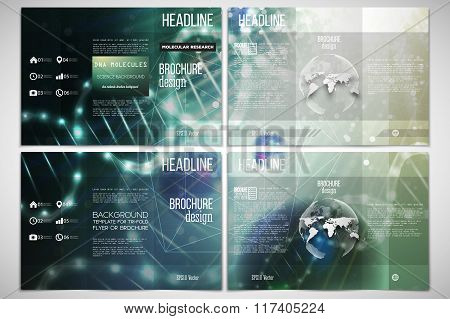Vector set of tri-fold brochure design template on both sides with world globe element. DNA molecule