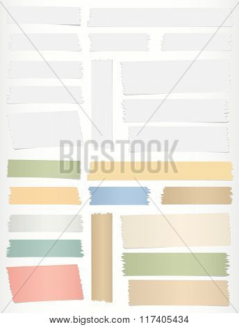 Colorful, gray horizontal sticky tape, adhesive pieces