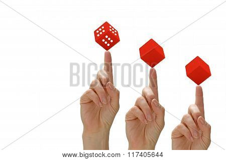Success Concept With Hands And Red Toy Cubes