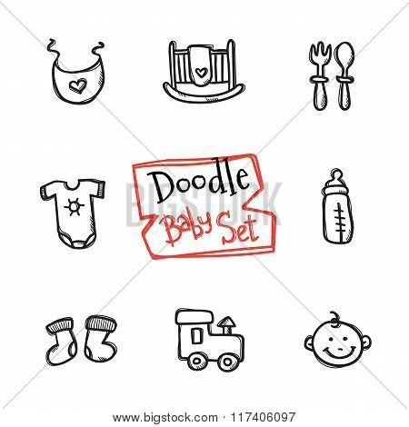 Vector doodle baby icons set. Cute hand drawn collection of kids objects