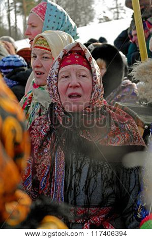 Gatchina, Leningrad region, RUSSIA - March 5, 2011: Maslenitsa. Folk Choir.