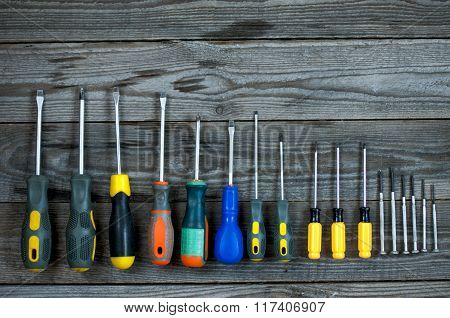 Set Of Different  Screwdrivers