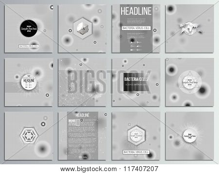 Set of 12 creative cards, square brochure template design. Molecular research, cells in gray, scienc